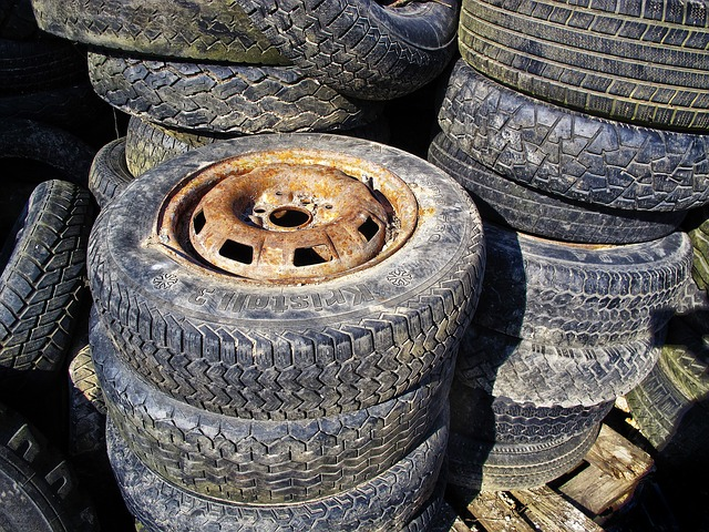 old, rusty tyres
